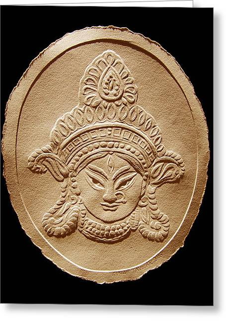 Relief Drawing Of Goddess Durga Devi  Greeting Card