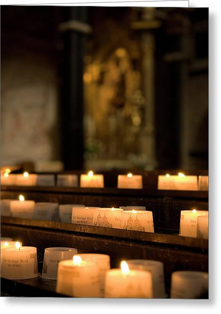 Greeting Card featuring the photograph Religion - Candlelight - Cathedral Of Trier - Christian Church In Antiquity by Urft Valley Art