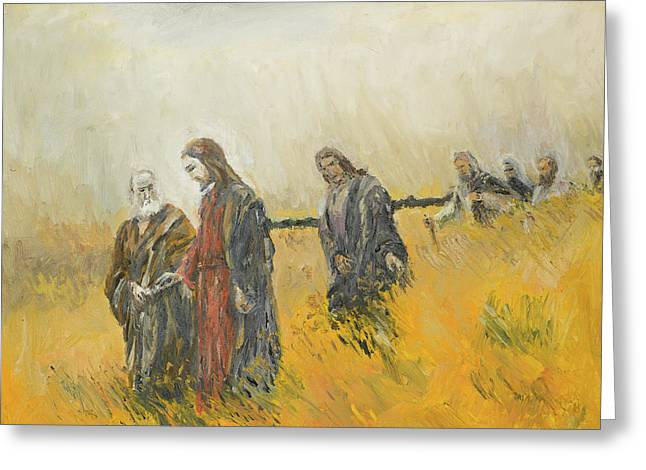 religious scene, Christ and his disciples Greeting Card by Dan Comaniciu