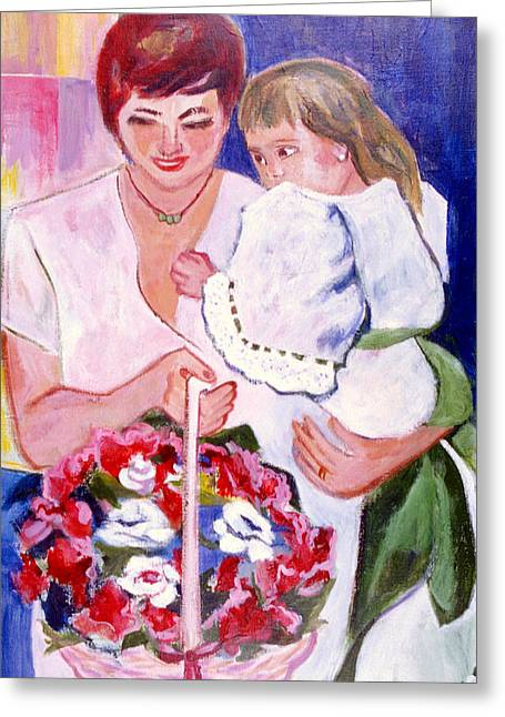 Greeting Card featuring the painting Reluctant Flower Girl by Betty Pieper