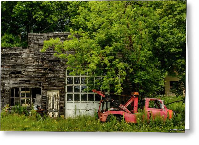 Remains Of An Old Tow Truck And Garage Greeting Card by Ken Morris