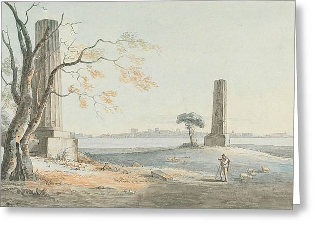 Remains Of The Temple Of Olypian Jove With A View Of Ortygia, Syracuse Greeting Card by Henry Tresham