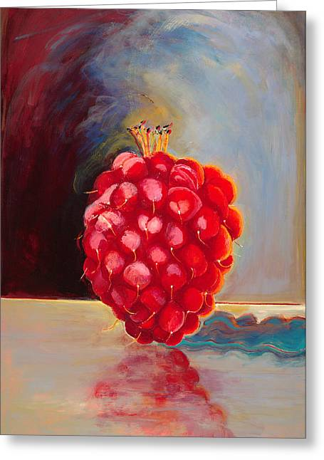 Remarkable Raspberry Greeting Card by Diane Woods