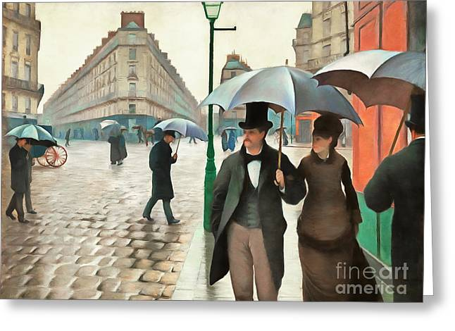 Remastered Gustave Caillebotte Paris Street Rainy Day 20170408 Greeting Card by Wingsdomain Art and Photography