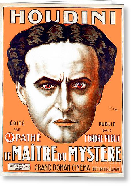 Greeting Card featuring the photograph Remastered Nostagic Vintage Poster Art Houdini Master Of Mystery by Wingsdomain Art and Photography