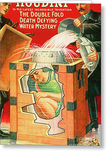 Greeting Card featuring the photograph Remastered Nostagic Vintage Poster Art Houdini The Double Fold Death Defying Water Mystery 20170415 by Wingsdomain Art and Photography