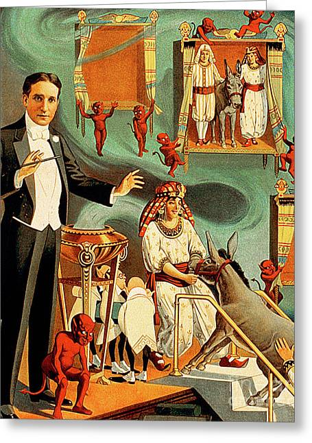 Greeting Card featuring the photograph Remastered Nostagic Vintage Poster Art Thurston The Great Magici by Wingsdomain Art and Photography