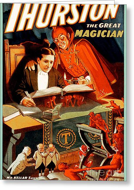 Greeting Card featuring the photograph Remastered Nostagic Vintage Poster Art Thurston The Great Magician 20170415 by Wingsdomain Art and Photography