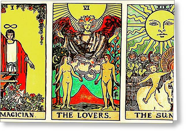 Remastered The Three Tarot The Magician The Lovers And The Sun 20170423 Greeting Card by Wingsdomain Art and Photography