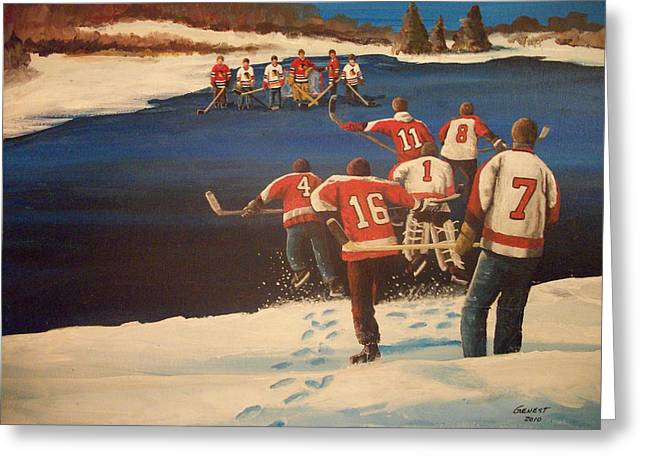 Youth Hockey Paintings Greeting Cards - Rematch 2010 - The Bullies are Back Greeting Card by Ron  Genest