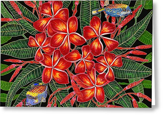 Greeting Card featuring the painting Tropical Fish Plumerias by Debbie Chamberlin