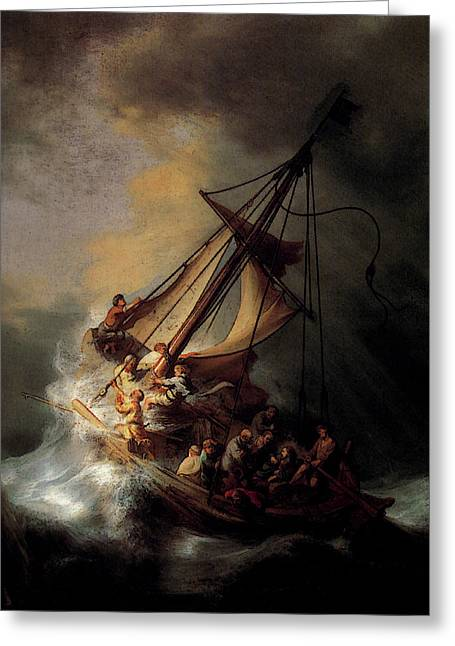 Rembrandt Christ In The Storm On The Sea Of Galilee Greeting Card by Rembrandt