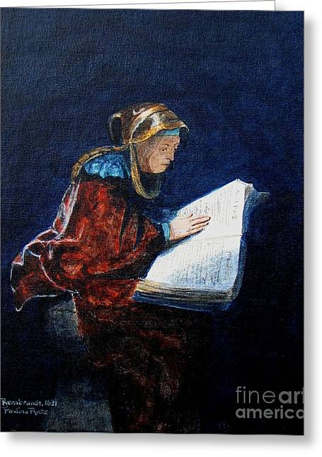 Rembrandts Prophetess Ana Greeting Card by Pauline Ross