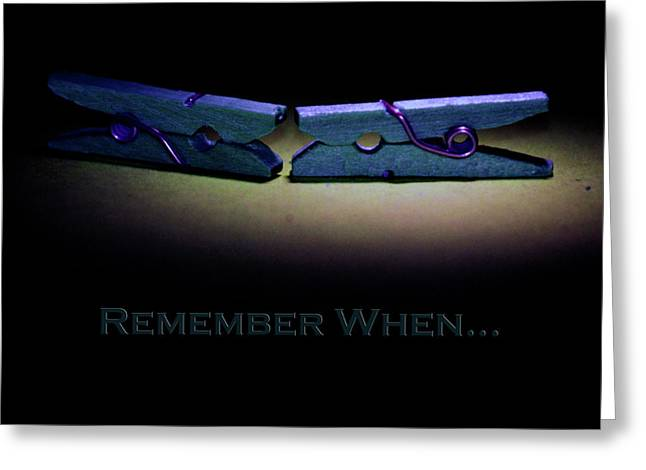 Remember When Blue Clothes Pins Card Greeting Card by Lesa Fine