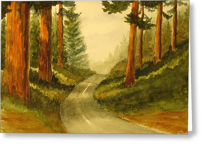 Greeting Card featuring the painting Remembering Redwoods by Marilyn Jacobson