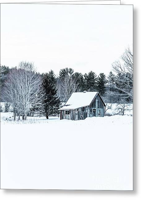 Remote Cabin In Winter Greeting Card by Edward Fielding