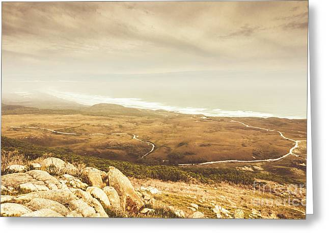 Remote Roads And Foggy Coastlines Greeting Card