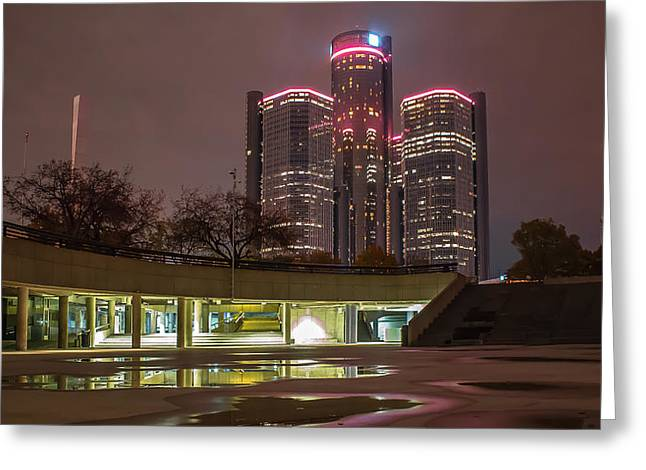 Ren Cen From Hart Plaza Detroit Mi Greeting Card by A And N Art