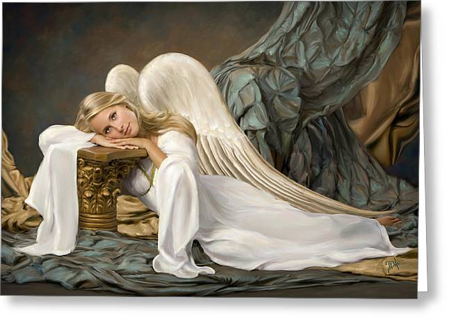Renaissance Angel Greeting Card by Daria Doyle