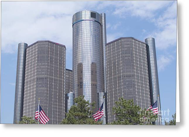Renaissance Center And Flags Greeting Card