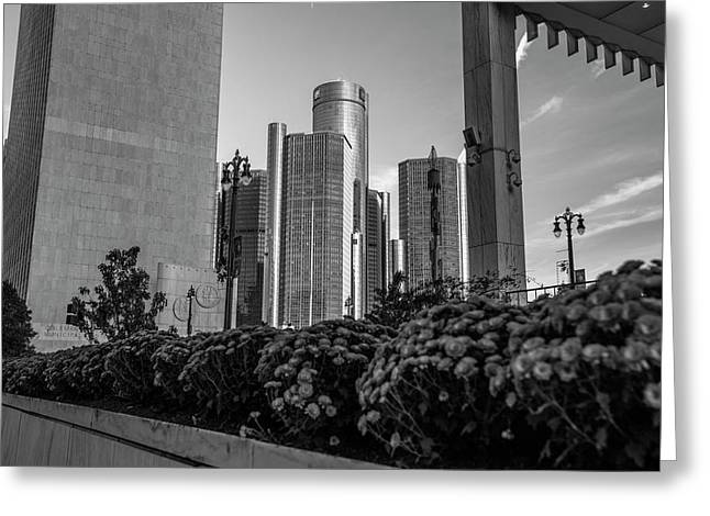 Renaissance Center And Flowers Detroit  Greeting Card by John McGraw