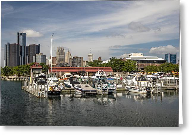 Renaissance Center And Marina And Skyline   Greeting Card by John McGraw