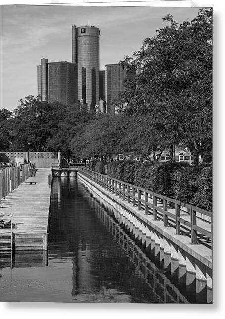 Renaissance Center And Water Greeting Card by John McGraw