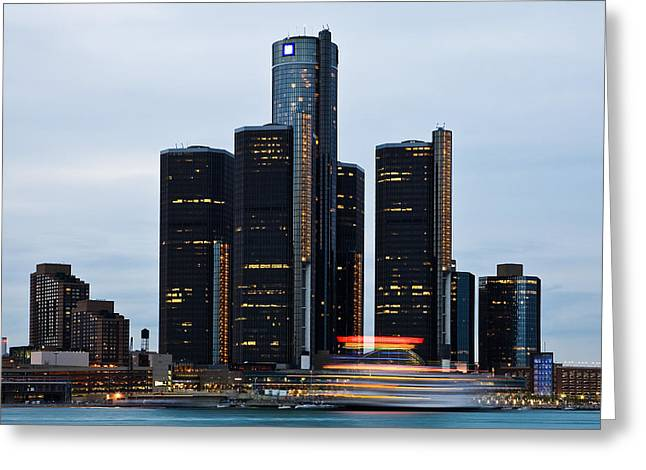 Renaissance Center At Dusk Greeting Card by James Marvin Phelps