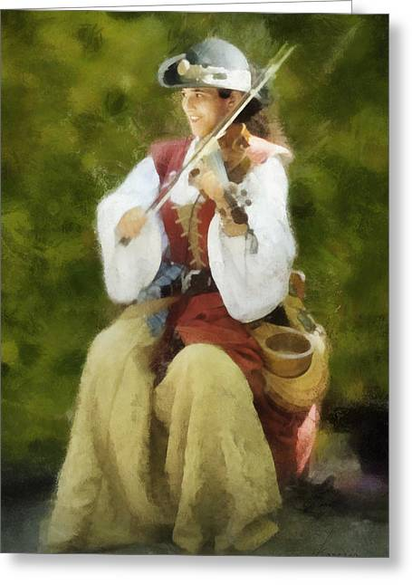 Renaissance Fiddler Lady Greeting Card by Francesa Miller