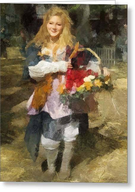 Renaissance Flower Lady Greeting Card by Francesa Miller