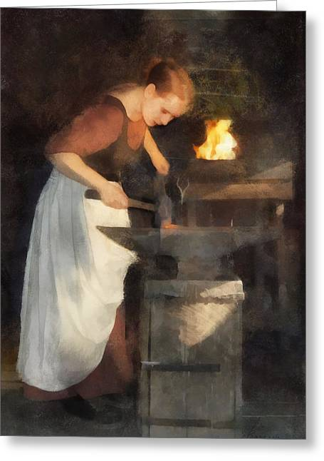 Renaissance Lady Blacksmith Greeting Card