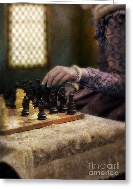 Renaissance Lady Playing Chess Greeting Card