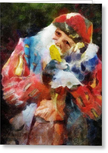 Renaissance Man With Corn On The Cob Greeting Card by Francesa Miller