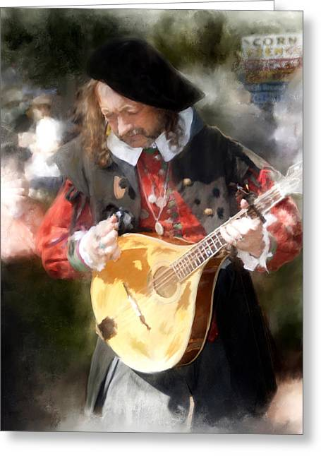Renaissance Musician Greeting Card by Fred Baird
