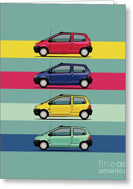 Renault Twingo 90s Colors Quartet Greeting Card by Monkey Crisis On Mars