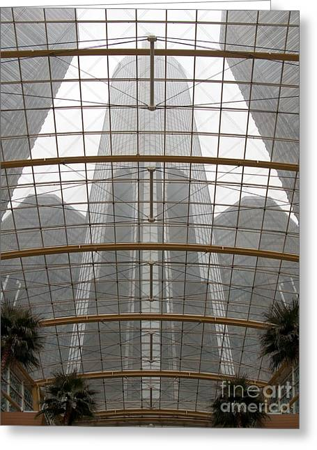 Recently Sold -  - Renaissance Center Greeting Cards - RenCen from Within Greeting Card by Ann Horn