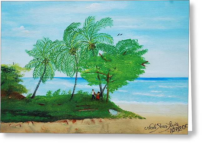 Greeting Card featuring the painting Rendez-vous By The Beach by Nicole Jean-Louis