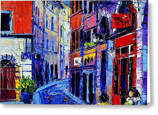 rendez-vous In Vieux Lyon 25x25 Cm Greeting Card