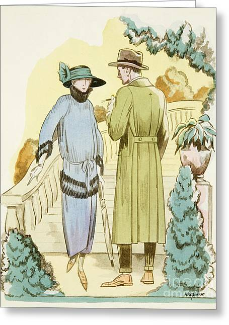Rendezvous, Outfit And Ulster Overcoat  Greeting Card