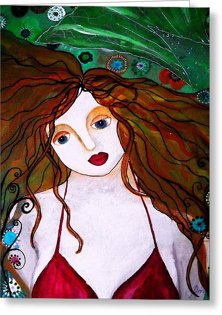 Greeting Card featuring the painting Rennaissance Mermaid by Pristine Cartera Turkus