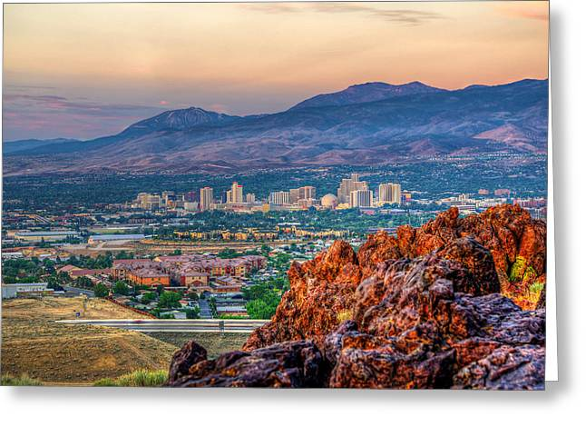 Reno Nevada Cityscape At Sunrise Greeting Card