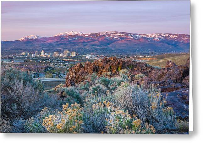 Greeting Card featuring the photograph Reno Nevada Spring Sunrise by Scott McGuire