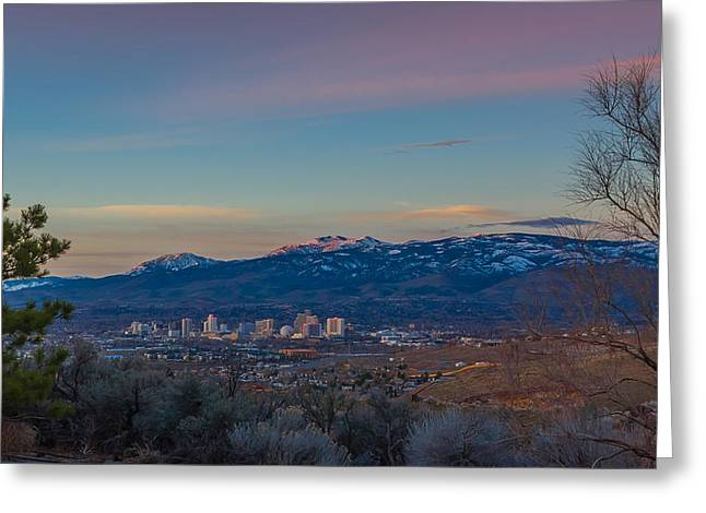 Reno Sunrise Natural Frame Greeting Card by Scott McGuire