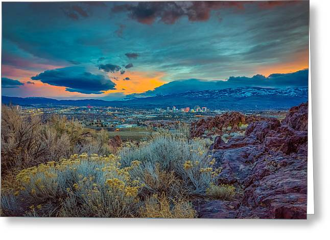 Reno Winter Storm Sunset Greeting Card by Scott McGuire