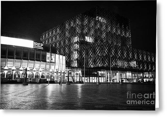 Rep Theatre And The Library Of Birmingham In The City Centre At Night England Uk Greeting Card