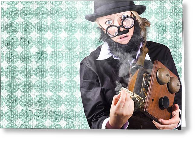 Repair Man Showing Communication Service Down Greeting Card by Jorgo Photography - Wall Art Gallery