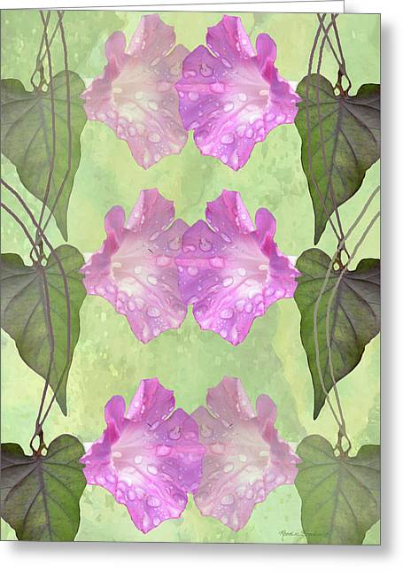 Repeated Morning Glories Greeting Card by Rosalie Scanlon