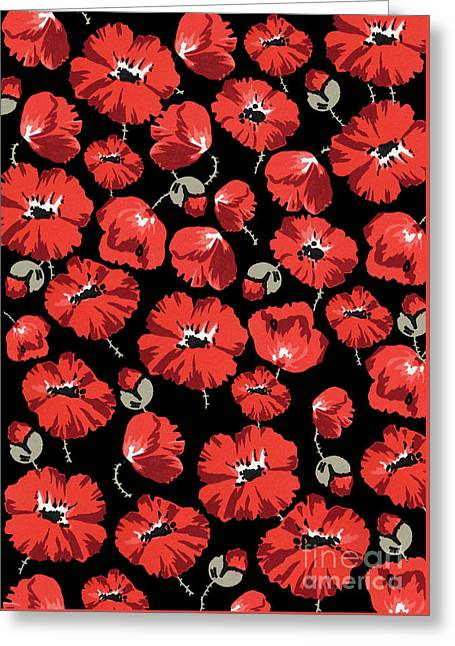 Repeating Pattern Of Poppies Montage On Black Background Greeting Card