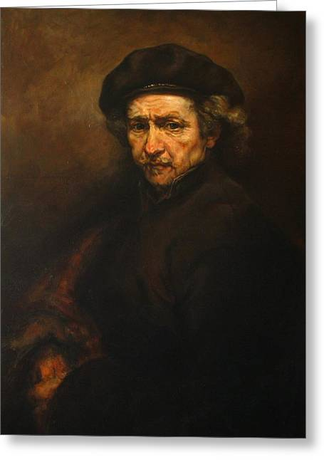 Replica Of Rembrandt's Self-portrait Greeting Card by Tigran Ghulyan