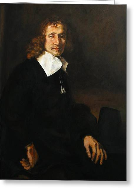 Replica Of Rembrandt's Young Man Seated At A Table Greeting Card